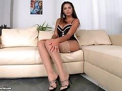 Great solo masturbation in sexy lingerie