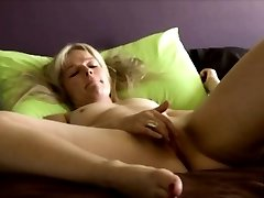 Danish blondie Laura displays private home solo