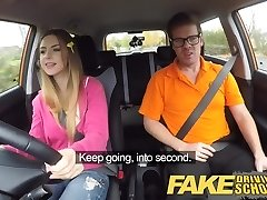 Fake Driving School Ample funbags Italian student fucks for exam
