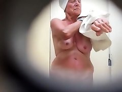 Granny's saggy tits filmed in secret