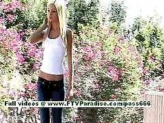 Franziska sexy blonde woman public flashing tits and ass