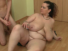 She gives him a great BBW blowjob and he returns the favor with a hard slamming of her cunt