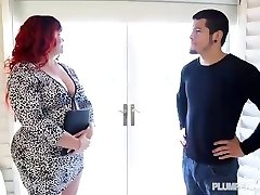 Ginger-haired PAWG Marcy Diamond Bangs Young Stud