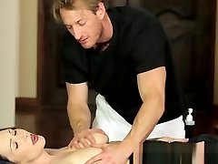 Buxomy massage babe pussyfucked by fat cock