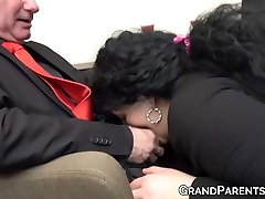 Ginger maid screws with mature boss and his obese wife