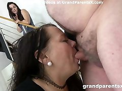 Granddad fucks his fat wife and stepdaughter