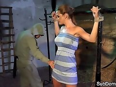 Dominated babe ejaculations while bound