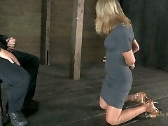Talkative bitch Simone Sonay gets her hands bound up and has to suck a manstick
