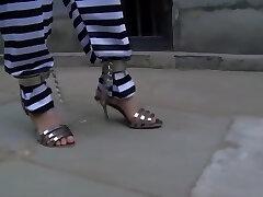 Chinese Jail Girl in Metal Bondage