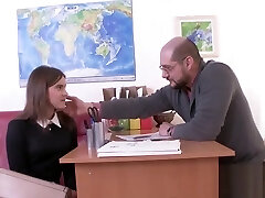 Ideal schoolgirl gets teased and shagged by her elder teacher