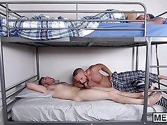 Horny stepdad drills his naughty son
