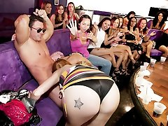 Cock hungry girls suck stripper beef whistle at CFNM party