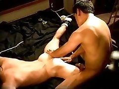 A muscle stud ravages and then squeezes and hits the another studs pouch.
