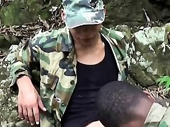 Gay soldiers take turns at outdoor oral