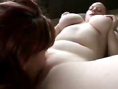 Smooth and kinky brunette fatty in lesbian pussy licking play on the floor