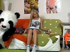 Hawt beauty having joy with her panda bear