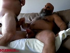 hairy muscle hunk shooting a big blast