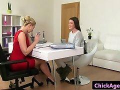 Classy casting lesbians finger bang in office