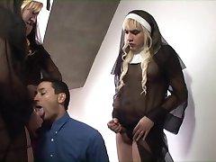 Three tranny sluts dressed like nuns fucks and creams gay dude