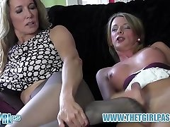 Blonde shemale milks big weenie before cuming on hot nylon ass