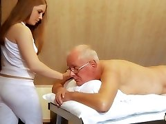 Oldman fucks youthfull masseur cums in her mouth