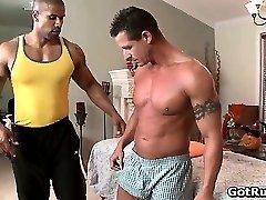 Beefcake black stud fucks muscled gay part1