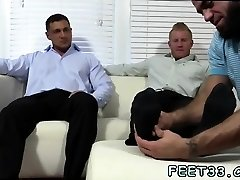 Old young gay foot and man tickle bear Ricky Worships Johnny