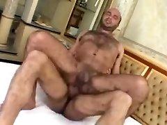 Bear taking a hard spear deep inside