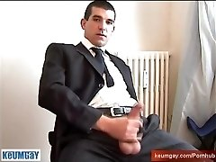 A real straight boy in suite trouser serviced: get milked his huge manmeat!