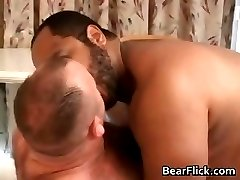 Riding his big gay bear hairy ass part1