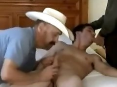 two older cowboys and a smart stud
