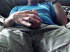 Dad's Toying with his big hairy uncut foreskin cock