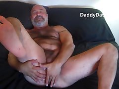 Naked Daddybear Jacks Off a Big Load Then Hangs Out After