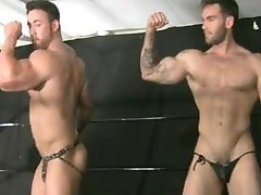 2 Bodybuilder Wrestlers Fight And Flex