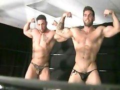 2 Bodybuilder Wrestlers Fight And Flex