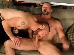 Dick thirsty gay bear slurps hard cock