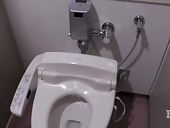 Elitist perverted woman. In the wc in a workplace, onan