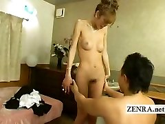 Japanese newhalf transgirl is stripped nude with suck off