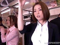 Horny Asian model gets hard knob in public