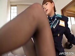Sexy japanese gives foot job on bed