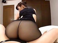 Japanese mature dark-hued pantyhose sex