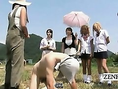 Subtitled CFNM outdoor Japanese nut-juice stroking ranch