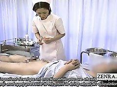 Subtitled medical CFNM hand job cum-shot with Japan nurse