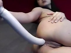 Massive dildo anal insertion