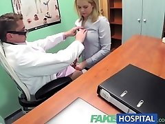 FakeHospital Sexy blondie saleswoman gets pulverized on the docs desk to secure an order