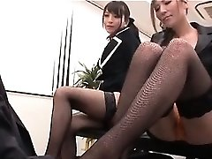 Asian sexy interns playing nasty dommes with their boss