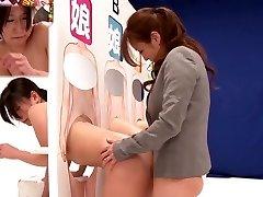 Strašan Japanski drolja Saki Идзуми, Hitomi Honjou, u Мизуки, Amaterka u nevjerojatan Strapon, Lezbijke isječak jau