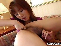 Asian whore eats his ass and sucks his donger