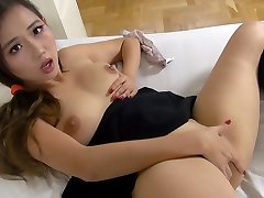 Asian schoolgirl nails herself