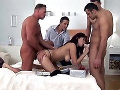 Amazing pornstar Aisha Sun in handsome gang-fuck, brunette sex scene